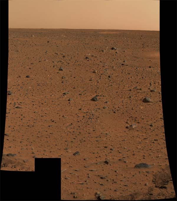 The first color image of the Martian surface sent back by the Mars Exploration Rover.  Image credit NASA/JPL.