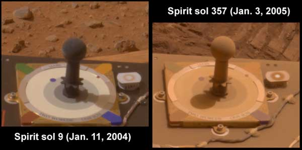 Spirit, dust comparison.  Image credit NASA/JPL.