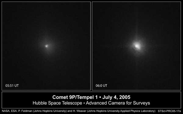 Tempel 1 as seen on from Hubble - before and after impact.  Image credit NASA/ESA/JHU.