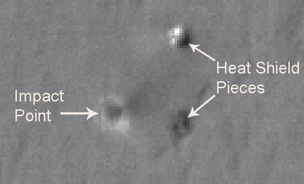The impact area for the heatshield from Opportunity as seen by HiRISE. Image credit NASA/JPL.