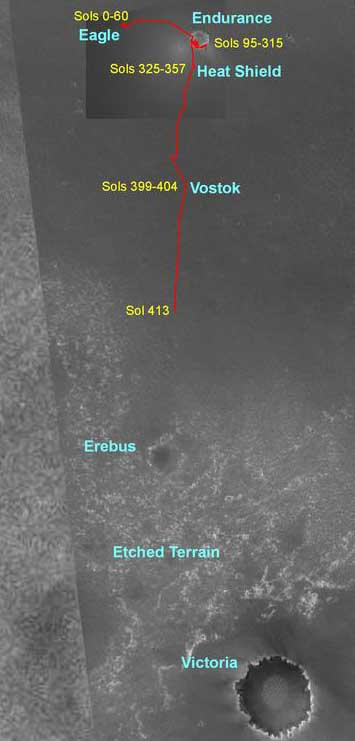 Opportunity traverse route. Image credit NASA/JPL.