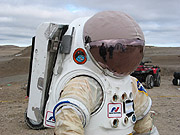 The Hamilton Sunstrand Concept Mars Spacesuit.  Click on this picture to view more images from the Mars Institute Web Site.