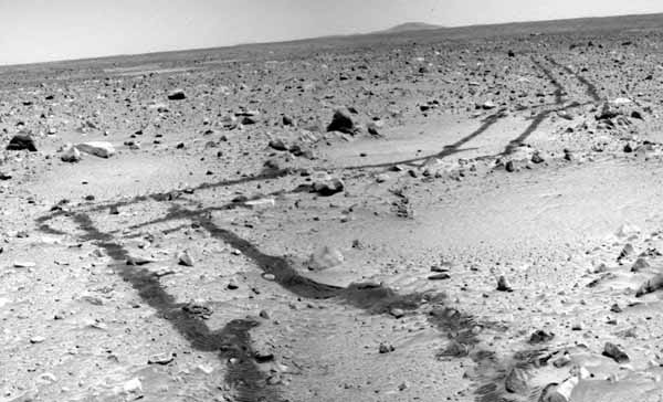 Rover tracks as seen from the ground.  Image credit NASA/JPL.