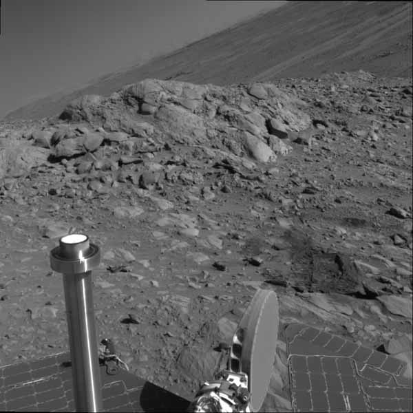 View from the hills, grey scale.  Image credit NASA/JPL.