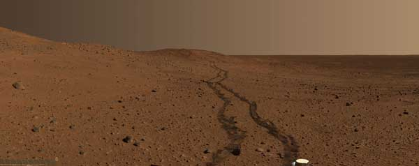 Spirit, hills and tracks, color.  Image credit NASA/JPL.