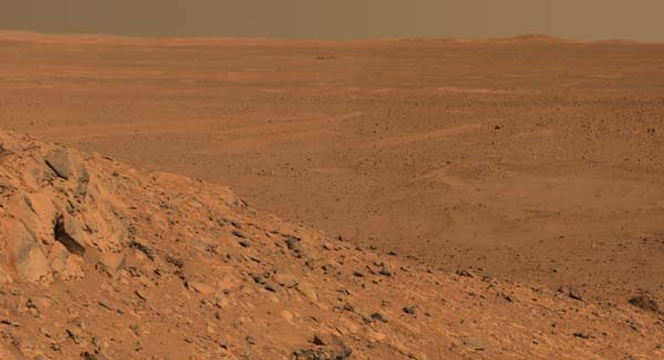 From a View from a hill.  Image credit NASA/JPL.