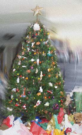 Our Christmas tree - Picture  Copyright © 2002 by Suzanne Gibson.