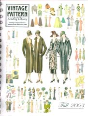 Cover for the the 2003 edition of the Vintage Pattern Lending Library catalog.