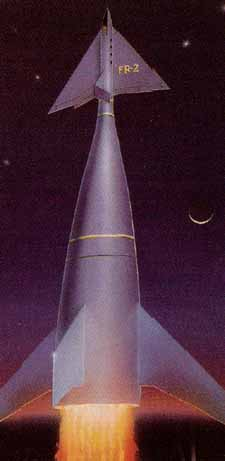Cover art by Ron for the Glencoe re-release of the famous Strombecker rocket models from the 1950's. Copyright © Ron Miller, All Rights Reserved.